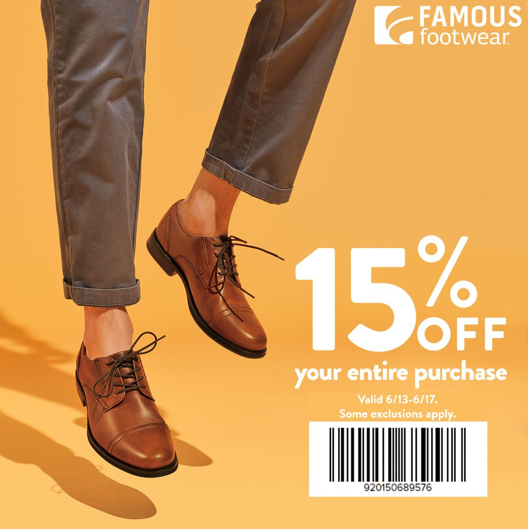 Famous Footwear - 15% off your purchase!